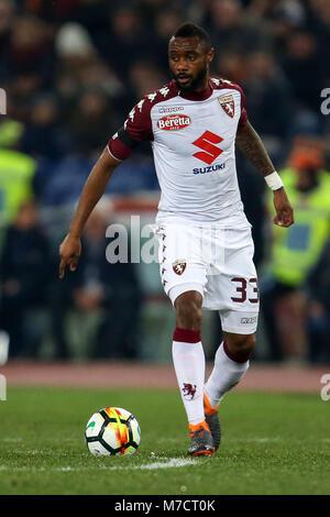 9th March 2018, Stadio Olimpico, Rome, Italy; Serie A Football, Roma versus Torino; Nicolas N'Koulou of Torino controls - Stock Photo