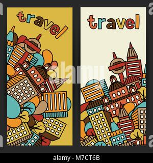Town banners design with hand drawn houses - Stock Photo