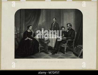 Lincoln family in 1861 - painted by F.B. Carpenter ; engraved by J.C. Buttre. LCCN2003666395 - Stock Photo