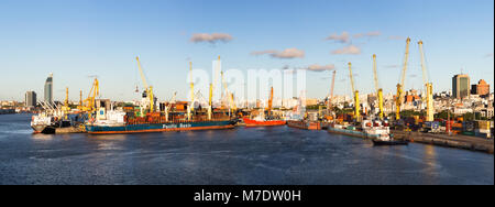 Montevideo, Uruguay - February 25th, 2018: Panoramic view of the Port of Montevideo in Uruguay, South America. - Stock Photo