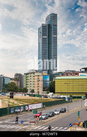 Milan, Italy - August 10, 2017: Palazzo Lombardia (Lombardy Building), the main seat of the government of Lombardy - Stock Photo