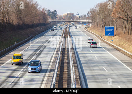 FUERTH / GERMANY - MARCH 4, 2018: traffic on german highway 73 near fuerth, germany - Stock Photo