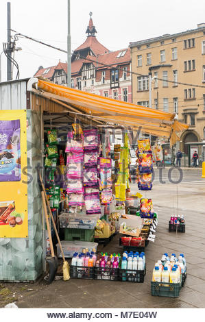 Poznan, Poland - March 07, 2018: Hanging Haribo bags with sweets of a small store selling different German products - Stock Photo