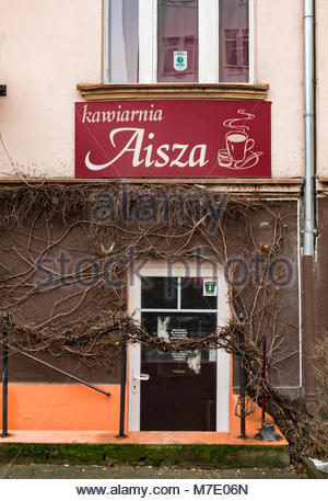 Poznan, Poland - March 07, 2018: Front of the Kawiarnia Aisza coffee bar in the city center - Stock Photo