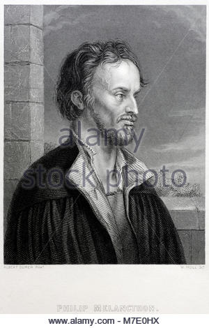 Philip Melanchthon portrait was a German Lutheran reformer, and collaborator with Martin Luther 1497 – 1560, antique - Stock Photo
