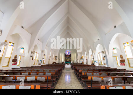 Kralendijk, Bonaire - January 27th, 2018: Interior of the St. Bernard Church, a catholic church at Kralendijk the - Stock Photo