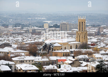 View over Aix-en-Provence and its Cathedral Under Snow in Winter Provence France - Stock Photo