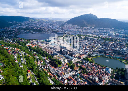 Bergen is a city and municipality in Hordaland on the west coast of Norway. Bergen is the second-largest city in - Stock Photo