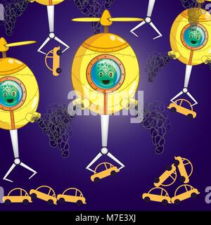 UFO Attack.It's getting the car up in the sky. Illustration vector cartoon. - Stock Photo