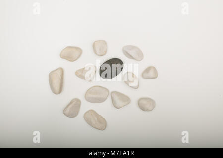 Water washed smooth white pebbles with a single black one on a white background with copy space in a conceptual - Stock Photo