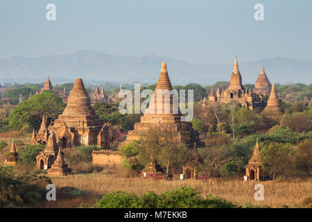 Many temples, pagodas and stupas at the ancient plain of Bagan viewed from the Shwesandaw Temple in Myanmar (Burma), - Stock Photo