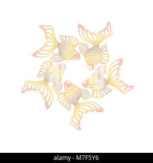 Vector hand drawn goldfishes floating in a circle. Line art design goldfish - Stock Photo
