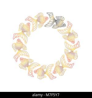 Vector nine hand drawn goldfishes floating in a circle. Nine golden goldfishes and one black goldfish. Aquarium - Stock Photo