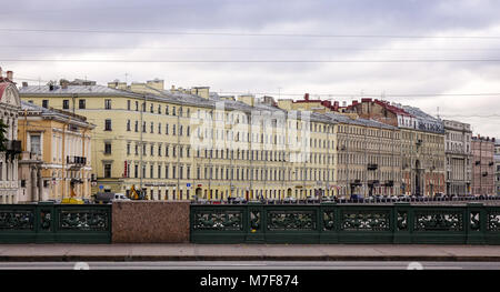 St. Petersburg, Russia - Oct 8, 2016. Old buildings located on riverbank in St. Petersburg, Russia. Saint Petersburg - Stock Photo