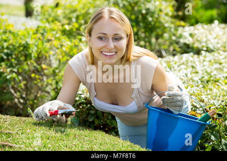 Attractive young woman working with green bush using horticultural tools on sunny day - Stock Photo