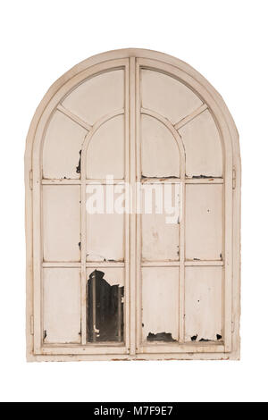 Old wooden white closed window isolated on white background. Path saved