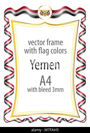 Frame and border  with the coat of arms and ribbon with the colors of the Yemen flag - Stock Photo