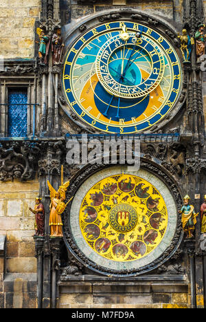 The Prague Astronomical Clock mounted on the southern wall of Old Town Hall in the Old Town Square - Stock Photo