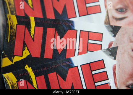 LONDON, UK - March 10th 2018: New Musical express magazine or NME front cover. The last printed edition was published - Stock Photo