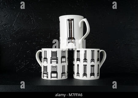 ... Three White China Mugs Featuring Dining Room Chairs Designed By Charles  Rennie Mackintosh; On Sale