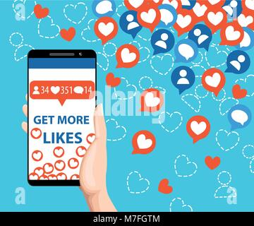 Get more likes. Smartphone pulling like. SEO concept. Hand holding horseshoe magnet. Design elements for social - Stock Photo