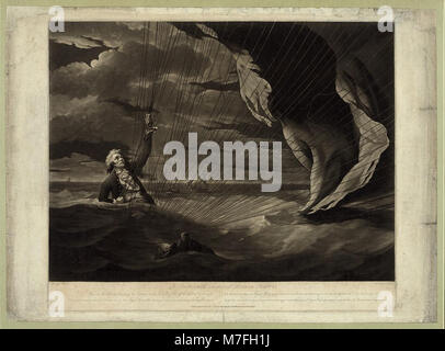 The perilous situation of Major Mony (i.e. Money), when he fell into the sea with his balloon on the 23rd of July, - Stock Photo