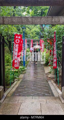 Japanese woman holding clear plastic umbrella walking on damp stone path amongst wet green shrubs and red temple - Stock Photo