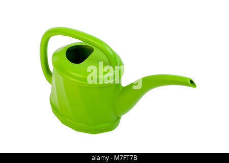 Plastic green watering can on white. - Stock Photo