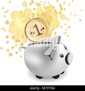 piggy bank and money, vector illustration - Stock Photo
