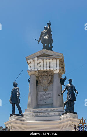 Monument To The Heroes Of The Naval Combat Of Iquique In 1879 and the Chilean war hero Arturo Prat, On Plaza Sotomayor. - Stock Photo