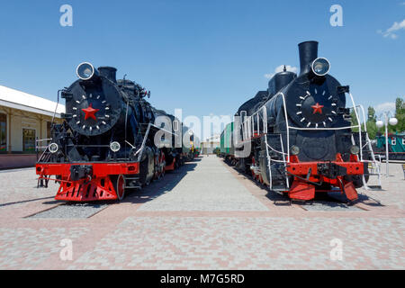 Old black steam locomotives FD20-2560 and Er774-40 in the Kharkіv Railway Museum. Ukraine, Kharkіv - Stock Photo