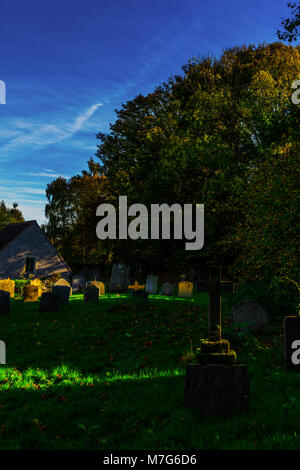 Old Medieval english Cemetery, gravestones, typical old British cemetery on a sunny day, death - Stock Photo
