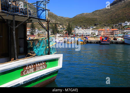 The harbour of Kalk Bay, on the False Bay, on the Cape peninsular, near Cape Town, South Africa - Stock Photo