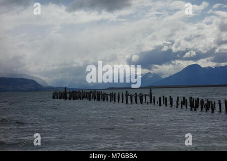 The Old Pier (Muelle Historico) in Almirante Montt Gulf in Patagonia - Puerto Natales, Magallanes Region, Chile - Stock Photo