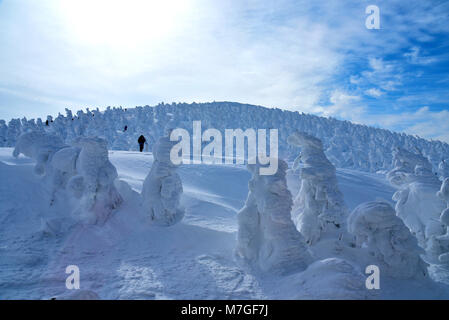 Snow Monsters of Mt.Zao in Yamagata, Japan - Stock Photo