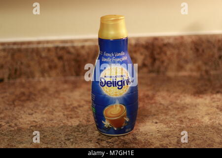 Bottle of Nestle French Vanilla Coffee Mate Nestle is a Switzerland based company founded in 1866 - Stock Photo