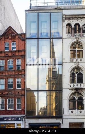 Reflection of Saint Margaret Pattens Church, Fenchurch Street, City of London, UK - Stock Photo