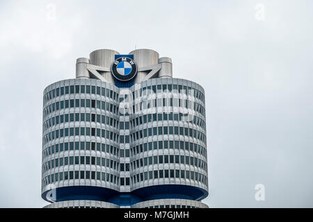 MUNICH / GERMANY - FEBRUARY 15 2018 : The BMW headquarters are located in the city of Munich - Stock Photo