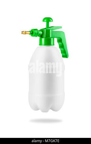 Pressure Hand garden sprayer for plants on a white isolated  background. Equipment for gardening. - Stock Photo