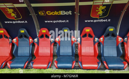 GENOA (GENOVA) MARCH, 4, 2018 - Reserve chair and staff manager bench of GENOA Cricket & Football club 1893, team - Stock Photo