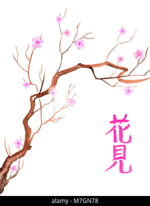 watercolor of a tree with spring blossoms, with japanese callygraphic writing hanami, flower admiration - Stock Photo