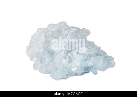 Macro shooting of natural gemstone. The raw mineral is Celestine, Madagascar. Isolated object on a white background. - Stock Photo