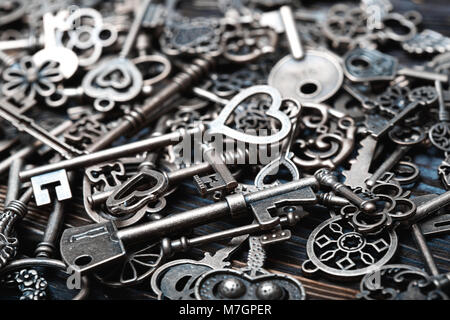Full frame photo of the various antique keys - Stock Photo