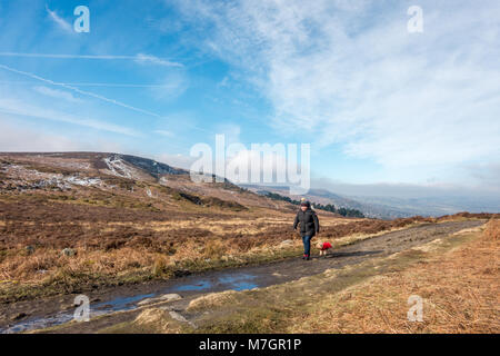 Woman in a bobble hat walking a small toy breed dog in a red coat along Ilkley Moor on a cold but sunny day with - Stock Photo