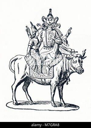 This illustration dates to around 1898 and depicts the Hindu god Siva (also spelled Shiva). Siva was part of the - Stock Photo