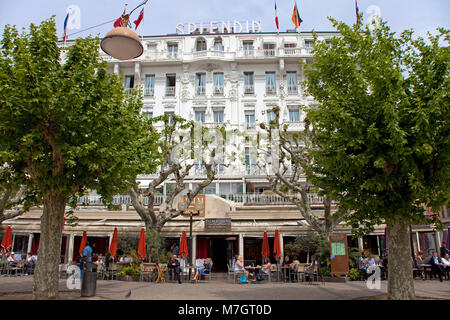 Street cafe at Hotel Splendid, La Croisette, Cannes, french riviera, South France, France, Europe - Stock Photo