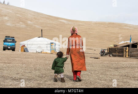 Hatgal, Mongolia, 3rd March 2018: mongolian kids in a steppe of northern Mongolia - Stock Photo