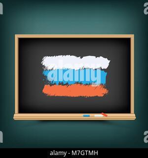 Russia flag draw on school blackboard - Stock Photo