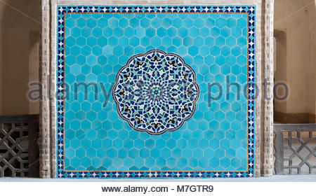 Decoration in the entrance hall of Shia Jame Mosque of Yazd. There are very well visible jewish symbols, six-pointed - Stock Photo