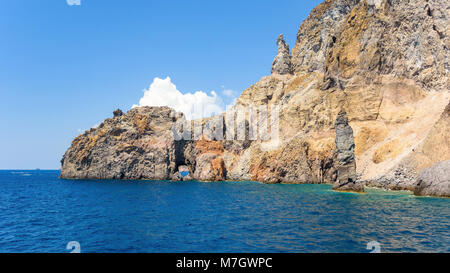 Panoramic view of rock formations at the Lipari Island, Aeolian Islands, Italy - Stock Photo